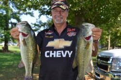 Pro Chris Dillow of Waynesboro, Va., shows off his two-day catch of 30 pounds, 1 ounce on the Potomac River.