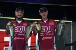 Kyle Raymer and John Smith of Eastern Kentucky show off a few nice fish from their 10-pound, 4-ounce limit.
