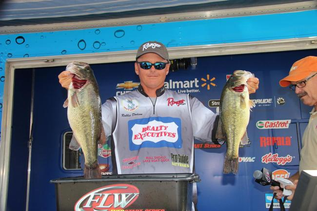 Day-one leader Robbie Dodson caught all of his fish on a Luck-E-Strike crankbait.