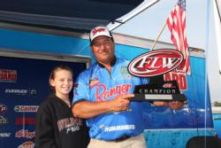 Dennis Berhorst shares the winning moment with his daughter Haley.
