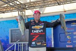 Chevy pro  Luke Clausen caught all five of his day-three fish on different baits.