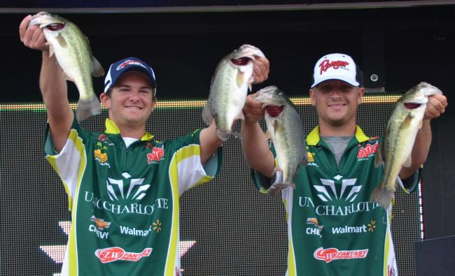 The UNC Charlotte team of Shane Lehew and Adam Waters rose to second place after catching a limit on day three weighing 11 pounds, 3 ounces.