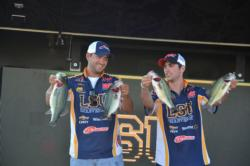 Joseph Landry and Gavin Havard of LSU-Shreveport sit in second place after day one with a 13-pound, 12-ounce limit.