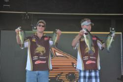 David Cosner and Jared Brown of Texas State University brought 12 pounds, 6 ounces to the scales on day one of the FLW College Fishing Southern Conference Championship.