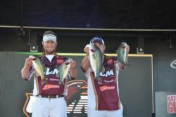 Paul Clark and Brett Preuett of the University of Louisiana-Monroe only brought four fish to the stage, but still sit in fifth place with 11 pounds, 8 ounces.