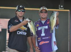 Cody Metz and Shelby Floyd of Tarleton State-Stephenville show off two nice Lake Dardanelle largemouths.