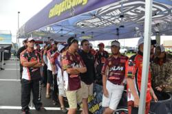 The teams wait in line to take the stage on the second day of the National Guard FLW College Fishing Southern Conference Championship on Lake Dardanelle.