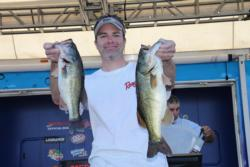 A Carolina rig, a squarebill crankbait and a lipless crankbait comprised the day-three arsenal for second-place co-angler Jeff Gengler.