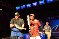 Mercury pro Ted Takasaki and co-angler Tom Wiehoff came out strong with a three-fish limit that weighed 7 pounds, 1 ounce, and sits them in second place.