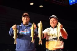 Kevin McQuoid and co-angler Col. Scott St. Sauver managed a 6-pound, 5-ounce limit on day one of the National Guard FLW Walleye Tour Championship.