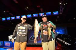 Co-angler Stuart Lubbert of Stewart, Minn., takes the overall lead after a massive day-two weight of 15 pounds, 4 ounces.