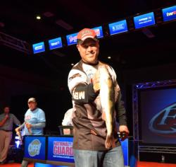 Mercury pro Danny Plautz came in one fish shy of a limit, but chipped away at the lead of Chevy pro Jason Przekurat. Plautz carries a three-day total weight of 21 pounds.