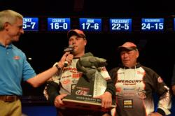Mercury pro Danny Plautz clinches his 2012 National Guard FLW Walleye Championship trophy while his father proudly looks on.
