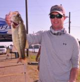 Justin Sward of Birmingham, Ala., leads the Co-angler Division of the EverStart Championship with a five-bass limit weighing 7 pounds, 11 ounces.