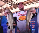George Kapiton of Inverness, Fla., sits in third place after day one with a five-bass limit weighing 11 pounds, 4 ounces.