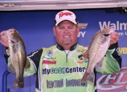James Stricklin, Jr., of Texarkana, Texas, slipped to second place with a two-day total of 19 pounds, 9 ounces.