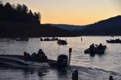 EverStart anglers carefully maneuver their boats before the start of Lake Oroville competition.