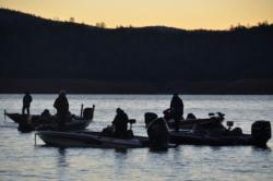As the sun rises, EverStart Series Western Division anglers patiently await the start of the Lake Oroville competition.