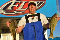 Co-angler Jeff Hardin of Chico, Calif., parlayed an 18-pound, 14-ounce limit into a second-place finish at the end of today's competition.