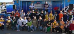 The top-15 college teams from the FLW College Fishing Lake Oroville event pose for a photo.