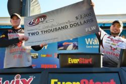 The Eastern Washington University team holds up its first-place check after winning the FLW College Fishing event on Lake Oroville.