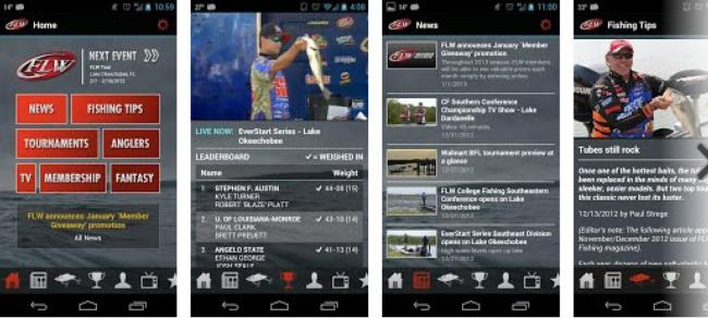 The FLW Tournament Bass Fishing app is now available for both Apple and Android-related devices.