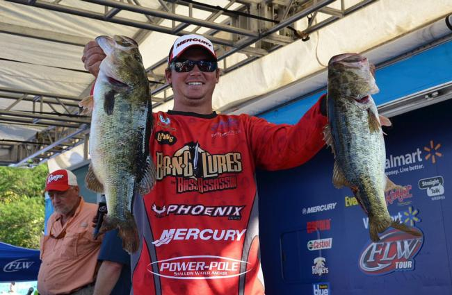 Drew Benton of Panama City, Fla., brought in an impressive 23-pound, 7-ounce stringer of bass to capture third spot on the leaderboard after one day.