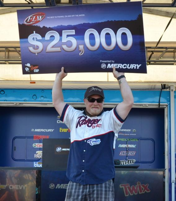 For winning the 2013 FLW Tour event on Lake Okeechobee, co-angler Justin Jones earned $25,000.