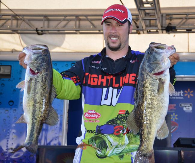 Co-angler Richard Peek rallied up the leaderboard on day three by weighing three fish for an impressive 13 pounds, 9 ounces. That brought his cumulative total to 35-8, capturing the second-place spot and a $7,500 check.
