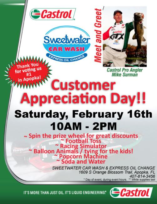 Castrol Sweetwater Car Wash & Express Oil Change Customer Appreciation Day.