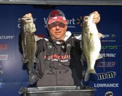 When his jerkbait bite stopped, fourth-place pro  Phil Addison switched to a finesse worm.