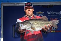 Third-place co-angler  Rondell Joseph caught the heaviest bass of his division.