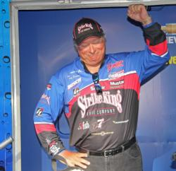 Top pro Denny Brauer reacts to the news of his win.
