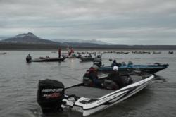 EverStart Western Division anglers await the start of takeoff.