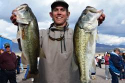 Pro Joseph Caporuscio of Coto De Caza, Calif., recorded a total catch of 13 pounds, 3 ounces to grab second place at Lake Roosevelt.