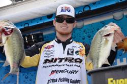 Pro Josh Bertrand of Gilbert, Ariz.,netted a total catch of 12 pounds, 8 ounces to finish the opening day of EverStart competition on Lake Roosevelt in fifth place.