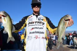 Pro Josh Bertrand of Gilbert, Ariz., netted a two-day catch of 19 pounds, 5 ounces to grab hold of second place heading into the finals on Lake Roosevelt.