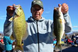 Bolstered by a two-day catch of 17 pounds, 1 ounce, Todd Kline of San Clemente, Calif., grabbed the runner-up qualifying position in the Co-angler Division heading into tomorrow's finals on Lake Roosevelt.