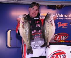 Alex Davis of Albertville, Ala., move into third place today on the strength of a 31-pound, 11-ounce stringer for a two-day total of 56 pounds, 8 ounces.