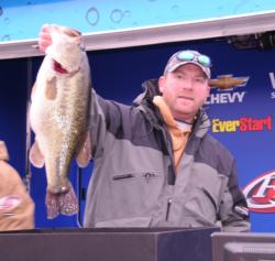 Co-angler Scott Ostmann of Cincinnati, Ohio, finished second with the help of this 9-pounder he caught on the first day.