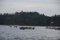 The first boats blast off to start day one of the Walmart FLW Tour on Smith Lake.