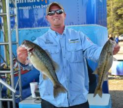 Second-place co-angler Tom Stark caught a limit Thursday weighing 10 pounds, 7 ounces.