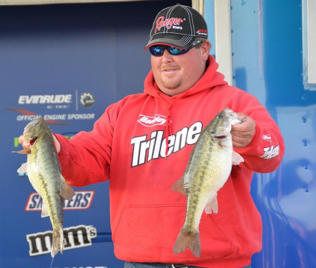 Jacob Powroznik holds up two nice Smith Lake spots.