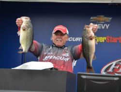 Tucker caught the largest limit of the tournament from the pro side on the final day - which included these two donkeys - that weighed 23 pounds, 4 ounces.