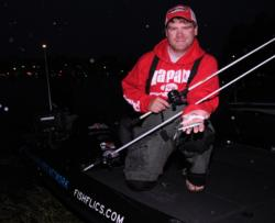 The EverStart Series Southeast Division points co-leader Shaye Baker readies his sight-fishing lures for the day: a white Paca Craw and a X-Rap Prop.