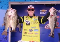 Straight Talk pro Scott Canterbury of Springville, Ala., rocketed into second place today with a 27-pound, 2-ounce catch for a two-day total of 42 pounds, 7 ounces.
