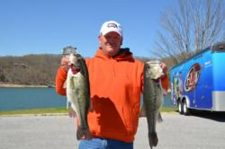 Co-angler Benjie Seaborn leads the way with only four bass that weighed a hefty 16 pounds, 1 ounce.