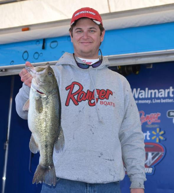 Jake Gipson shows off his catch.