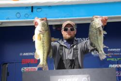 In third place,  Eric Wright used Texas-rigged plastics and dropshots to tempt bed fish.