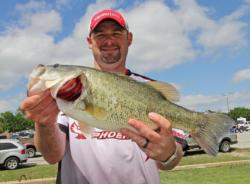 Fourth-place pro  Bradley Hallman spent his first 3 1/2 hours without a fish before finally dialing in a productive pattern.